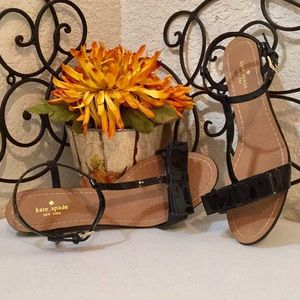 KATE SPADE♠️Patent T-Strap & Bow🎀Wedged Sandals